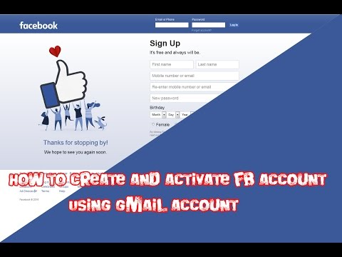How to create and activate fb account using gmail account