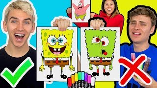 3 MARKER CHALLENGE WITH MY BROTHER (SPONGEBOB EDITION)