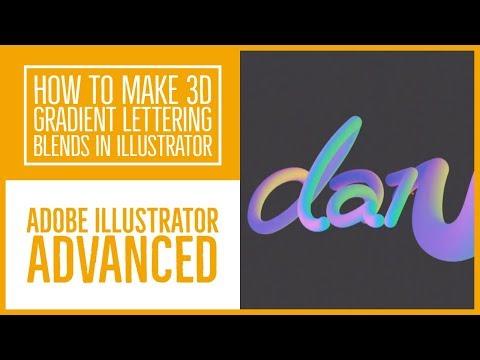 How to make 3D gradient lettering blends in Illustrator - Illustrator Advanced Training [48/53]