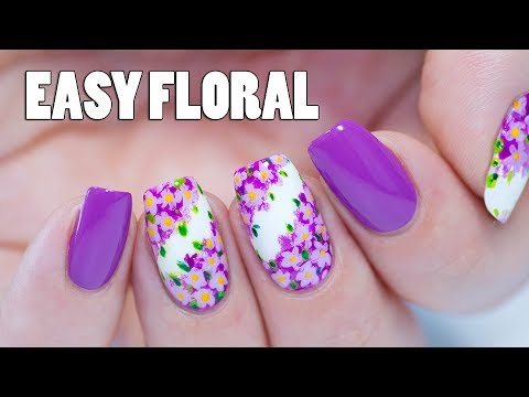 💜 NAIL ART for BEGINNERS - Purple Floral Nail Art 💜