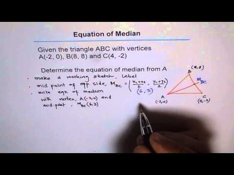 Find Equation of Median in a Triangle