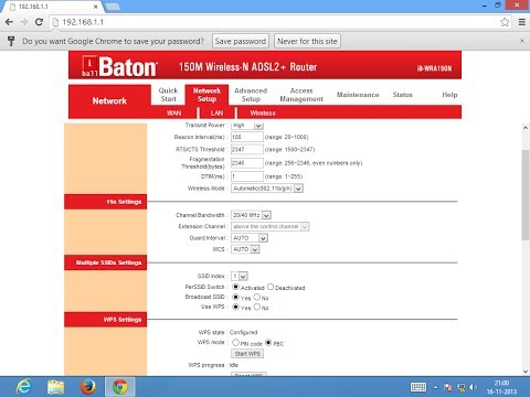 i Ball baton 150 M Wireless-N+Router (Modem + Wifi) Configuration. (Set BSNL Broadband Connection)
