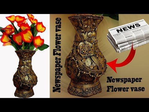 How to make Newspaper Flower Vase - DIY Newspaper altered vase -Best from waste-Flower pot