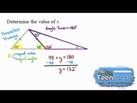 Interior Angles Of An Isosceles Triangle to Find an Unknown Angle | Geometric Relationships