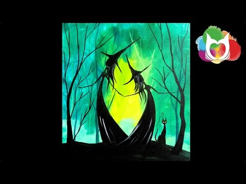 Easy Halloween painting | Adorable Witch Sisters in the Woods | #lovefallart #painting