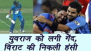 Yuvraj Singh gets body blow, Virat Kohli cheering up | वनइंडिया हिंदी