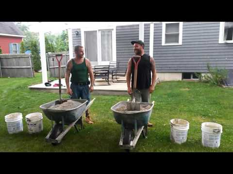 How to mix Concrete. Cement mixing race!