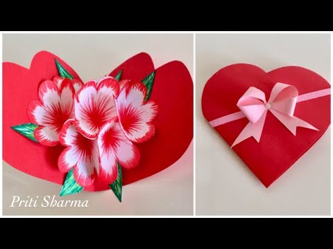 DIY : 3D Paper Flower POP UP Card Tutorial / Handmade Heart Shape Card | Priti Sharma