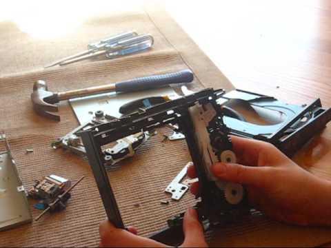 Inside a Computer CD drive.