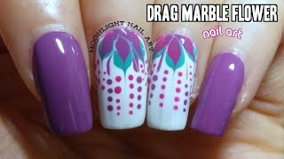 Purple Flower Nails Drag Marble Tutorial