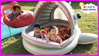 Babies and Kids Family Fun Shark Pool Time with Color Balls! Ryan