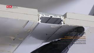 KLUS LLC - the KOZUS-50 extrusion creates a wide line of light, flush with the ceiling surface