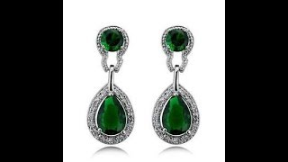 Single Stone Earring Designs || awesome emerald green stone earrings
