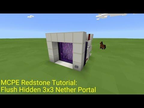 Minecraft Pocket Edition Redstone Tutorial: Flush Hidden 3x3 Nether Portal (MCPE 0.16.0)