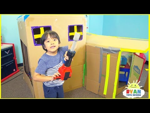 Giant Box Fort House from Cardboard with Ryan ToysReview
