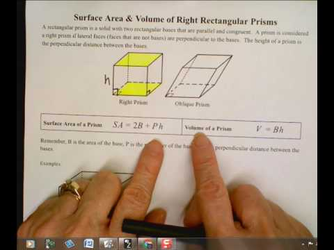 Surface Area and Volume of Right Rectangular Prisms