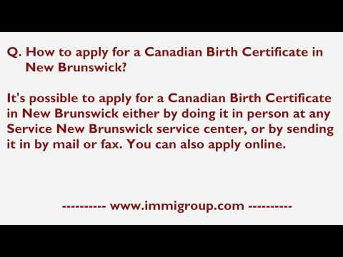 How To Apply For A Canadian Birth Certificate In New Brunswick?