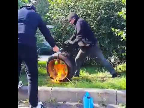 HOW NOT TO INFLATE A TIRE WITH FIRE