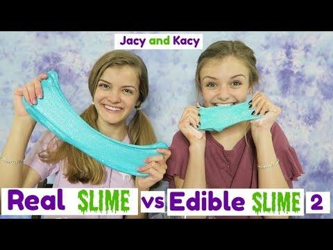 Real Slime vs Edible Slime Challenge 2 ~ Jacy and Kacy