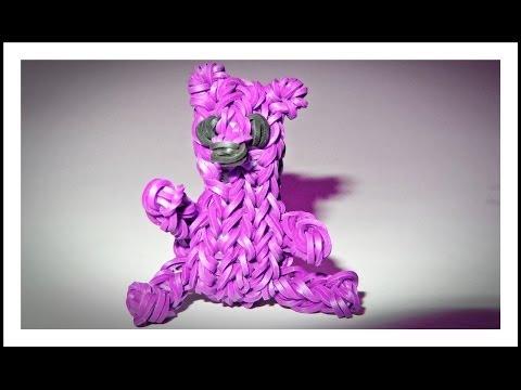 Rainbow Loom Charms - 3D Teddy Bear: How to make with loom + bands