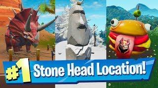 Visit Drift painted Durrr Burger Head, a Dinosaur and a Stone Head Statue - Fortnite Road Trip