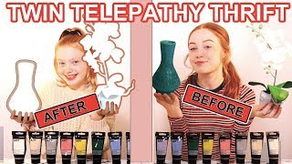 Twin Telepathy Thrift Makeover 3 Color Paint & Marker Challenge | Sis vs Sis | Ruby and Raylee