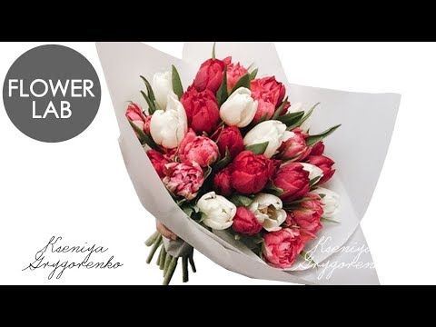 HOW TO WRAP A BOUQUET 8 MARCH TULIPS BOUQUET DIY