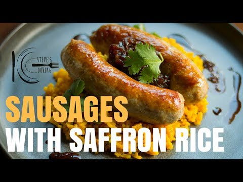 SAUSAGES WITH SAFFRON RICE & ONION JAM | stevescooking