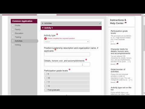 Common Application walkthrough part 6: Activities