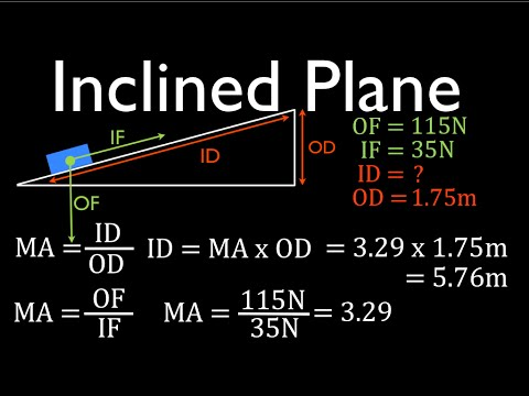 Simple Machines (6 of 7) Inclined Plane; Calculating  Forces, Distances, MA, Part 2