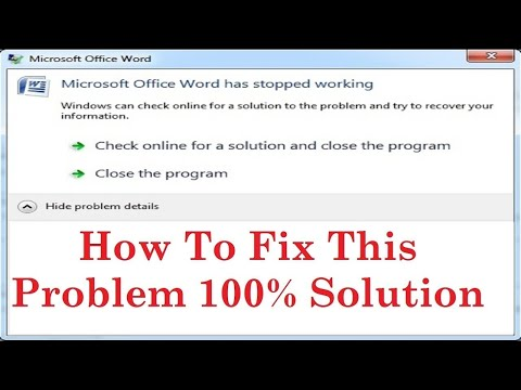 How To Fix Microsoft Word Has Stopped Working | Close The Program | 100 % Solution