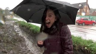 News Reporter Gets SOAKED By Puddle During Broadcast!   What