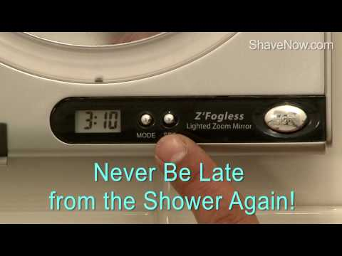 Fog Free Shower Mirror with Surround Sunlight, Magnification and Digital Clock - ShaveNow.com