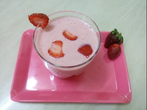Strawberry Lassi recipe in telugu | Summer drink Stawberry lassi