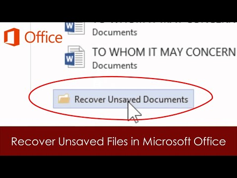 How To Recover Unsaved Files in Word, Excel and PowerPoint 2016 Tutorial