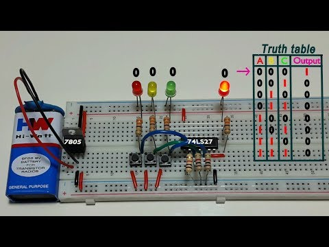 How to work 3 input NOR logic gate , using 74LS27 ic, in Tamil & English,தமிழ் எலெக்ட்ரானிக்ஸ்
