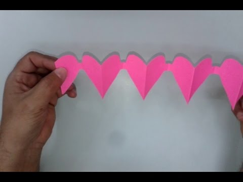 how to make a Paper Heart Chain - Valentine's Day Crafts