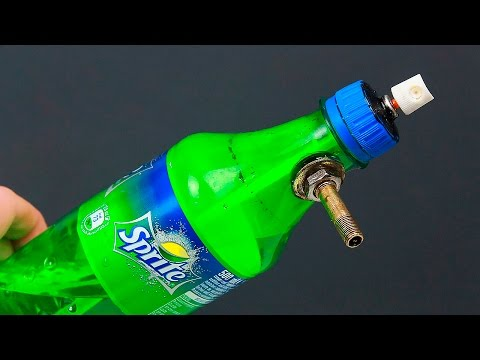 An unusual idea with a bottle and a can of spray paint