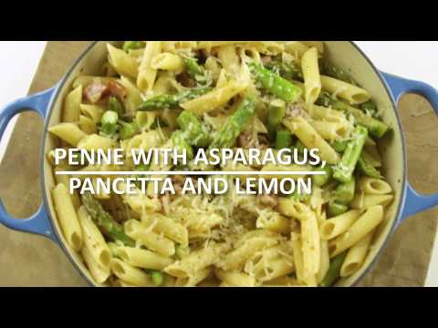 Penne with asparagus, pancetta and lemon