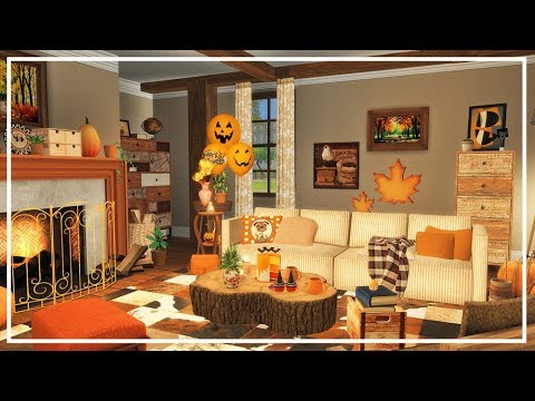 SIMS 4 HALLOWEEN AUTUMN FALL LIVING ROOM 🍁 Build + CC List