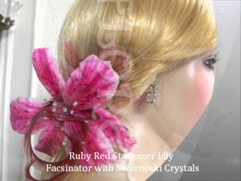 Designer Bridal Hair Dress Accessories Stargazer Lily French Silk Flower