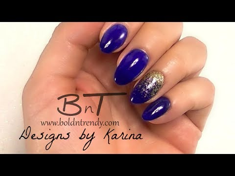 Almond-Shaped, Acrylic Nails Tutorial - Blue and Gold  E065