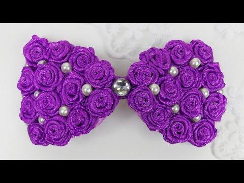 DIY Hair Bow I Ribbon Roses Bow Tutorial I How to make hairbow I DIY ribbon roses