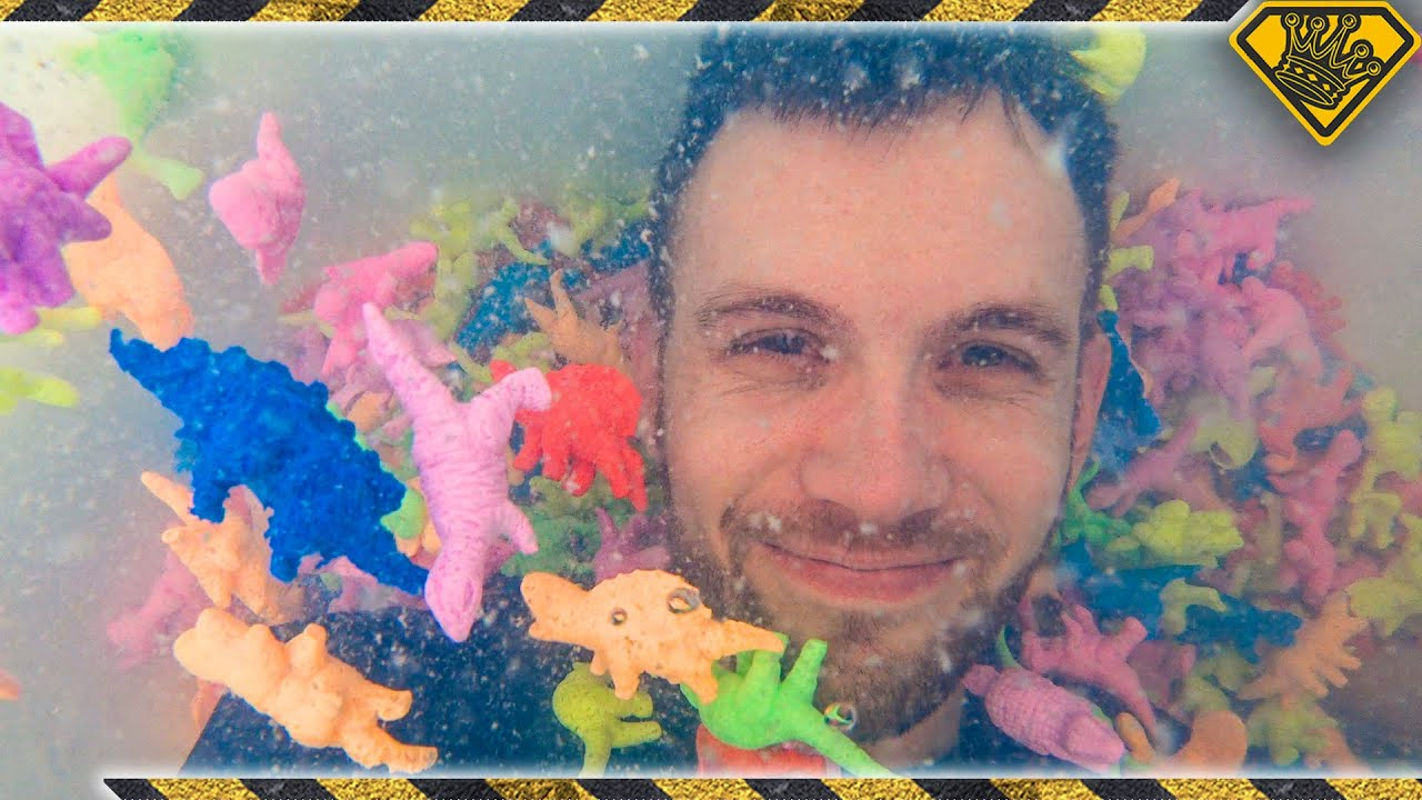We Put 1000 Expanding Dinosaurs In A Hot Tub!