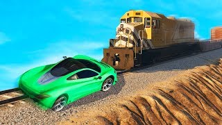 CAN THE CAR STOP THE TRAIN?! (GTA 5 Funny Moments)
