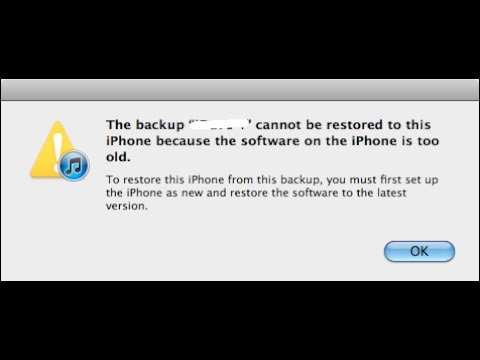 The backup cannot be restored iPhone is too old *FIX*