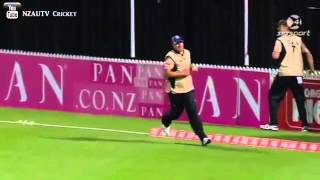 STUNNING CATCH...Colin de Grandhomme Relay Boundary Catch North vs South 2014