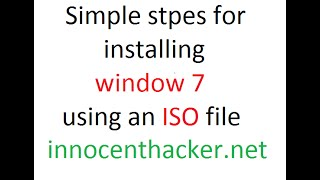How To Install Windows 7 Using Iso File