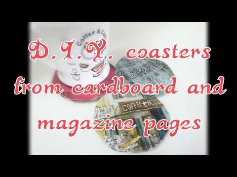D.I.Y. Coasters from cardboard and magazine pages