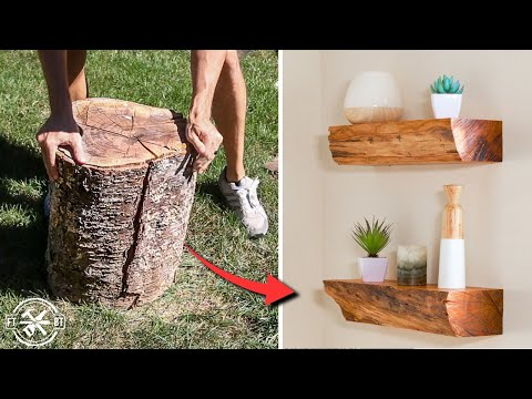 Live Edge Floating Shelves from Firewood | How to DIY Project